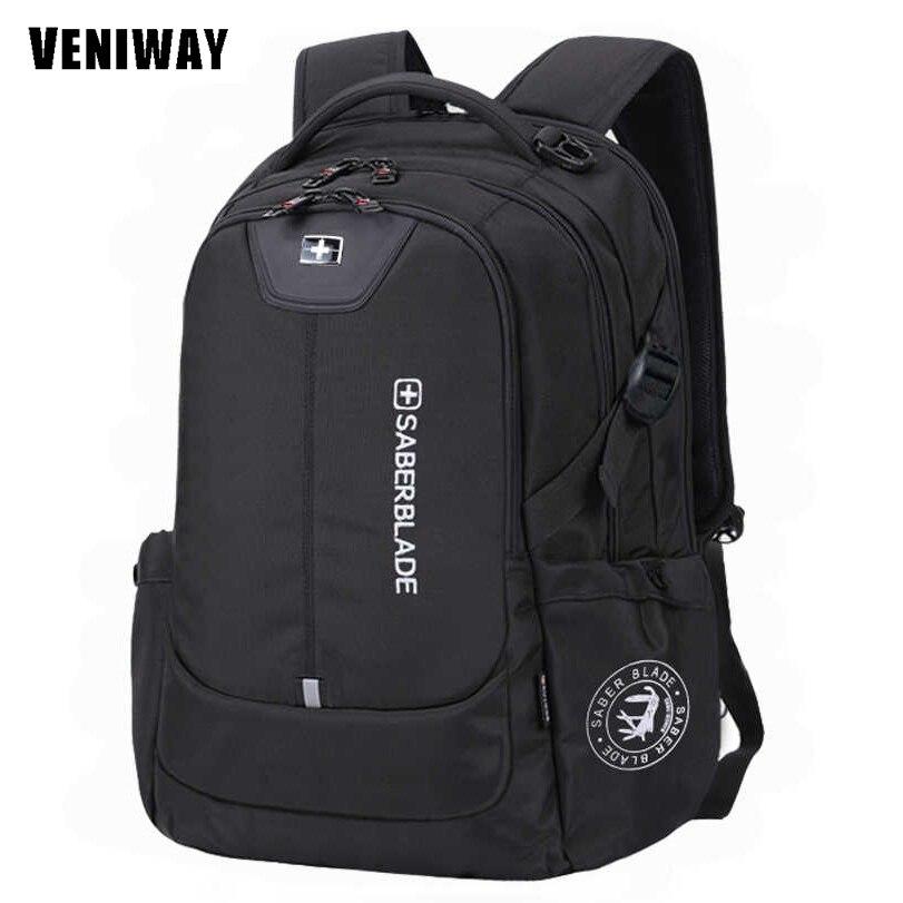 VENIWAY Swiss Cross Man Backpack Large Capacity Waterproof Laptop Backpacks Usb Charge B ...