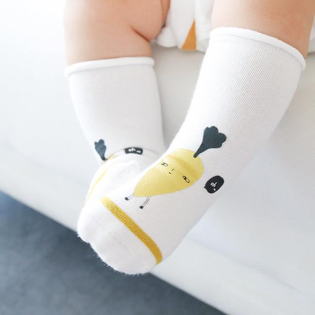 3 Pairs Baby Cotton Stockings Kids Autumn Winter Cartoon Vegetable Long Leg Warmer Newborn Anti-slip Child Girl Boy High Socks