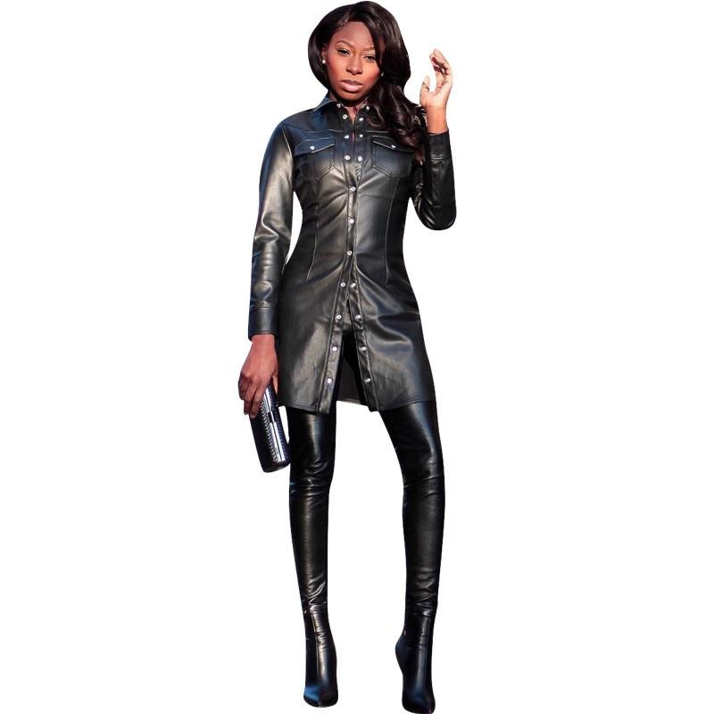 Faux   Leather   Coat Women Black Plus Size Fashion Slim Jackets 19 New Autumn Single-breasted PVC Long   Leather   Coats Clothing CX975