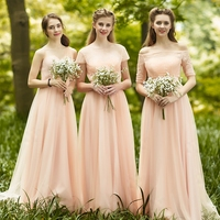 Elegant Boat Neck Half Sleeve Outer Tulle Inner Satin Long Nude Pink Country Bridesmaid Dresses Three Styles Available Dama