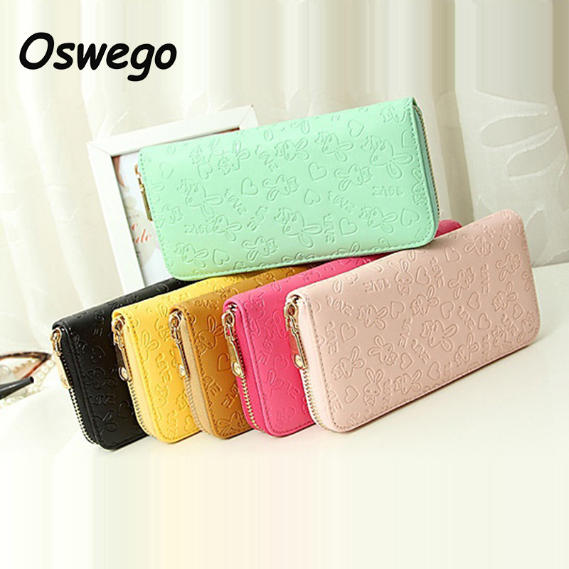 Candy Color Lovely Rabbit Embossed Women Long Wallet PU Leather Ladies Long Purse Women Clutch Pouch Bags for Teenager Girls amazing outdoor motorcycle face mask skull mask scarf bandana headbands fashion masque moto balaclava neck scarves