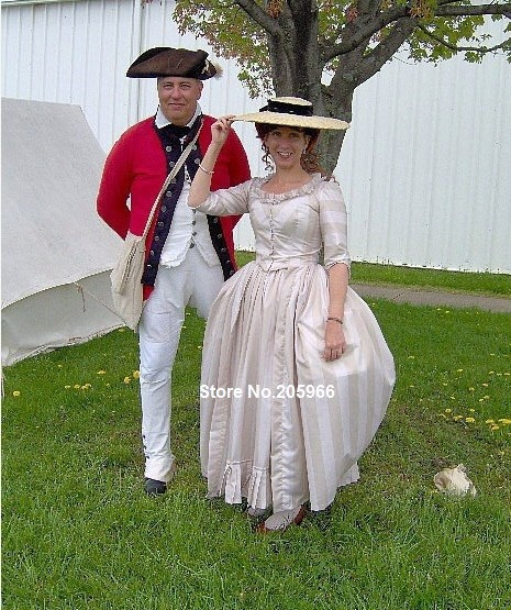 1700 s Kolonial Kleid jahrhunderts Polonaise Baumwolle Kleid Treiben ...