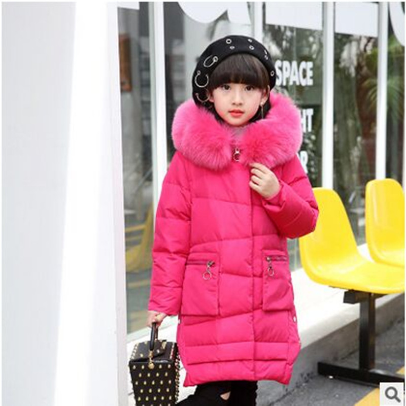 Winter Girl Down Jacket 2018 Fashion Big Fur Collar Coat Winter Thick Warm Pink Red Purple Black  Rose Red Down & Parkas 2017 winter new clothes to overcome the coat of women in the long reed rabbit hair fur fur coat fox raccoon fur collar