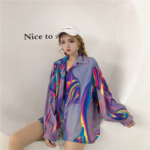 Casual Loose Women Shirt Long Sleeve Tops Korean Fashion Clothing Harajuku Print Streetwear Kimono Cardigan Blouse Women 50H0100