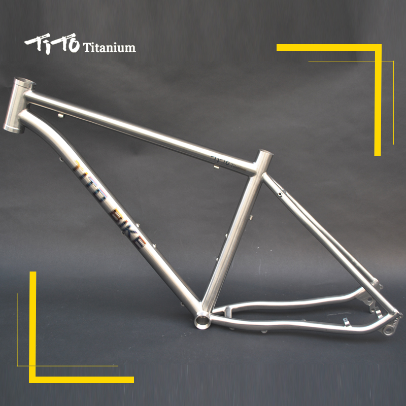 FREE SHIPPING !!! TiTo NEW Titanium MTB bike frame D geometric shape top tube 44 Head tube 142-12 barrel shaft bicycle free shipping tito titanium mountain bike mtb frame 26 27 5 29er simi circle a tail hook 34 head tube