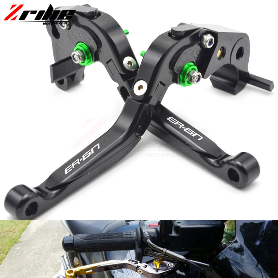 ER-6N logo 6 color CNC Motorcycle Brakes Clutch Levers For KAWASAKI ER6N ER-6N 2009 2010 2011 2012 2013 2014 2015 Accessories top quality cnc foldable folding fingers wave brake clutch levers for kawasaki ninja 650r er 6f er 6n 2006 2008 red