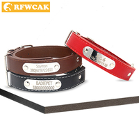 Leather Personalized Dog Collars Custom Cat Pet Name ID Adjustable Collar Free Engraving For Small Medium Large Dogs