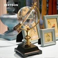 Кристаллический Глобус Медь Искусство фэншуй украшения для дома украшения для гостиной вход в офис Лаки мебель оригинальный Деловой Подар