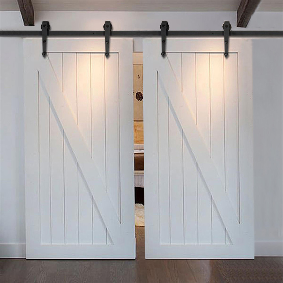 7 5ft 16ft modern country style steel sliding barn door hardware rustic wood double door closet. Black Bedroom Furniture Sets. Home Design Ideas
