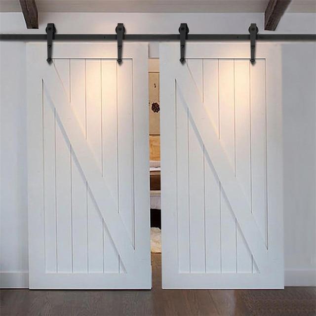7 5ft 16ft עץ כפרי בסגנון כפרי מודרני הזזה חומרת אסם דלת