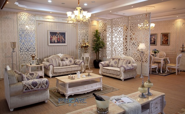 European style 3+2+1 seater fabric armchair sofa set living room ...