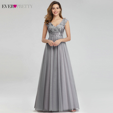 Elegant Grey Prom Dresses Long Ever Pretty EP00984GY A Line V Neck Sexy Sequined Formal Party Gowns Vestidos Largos De Fiesta