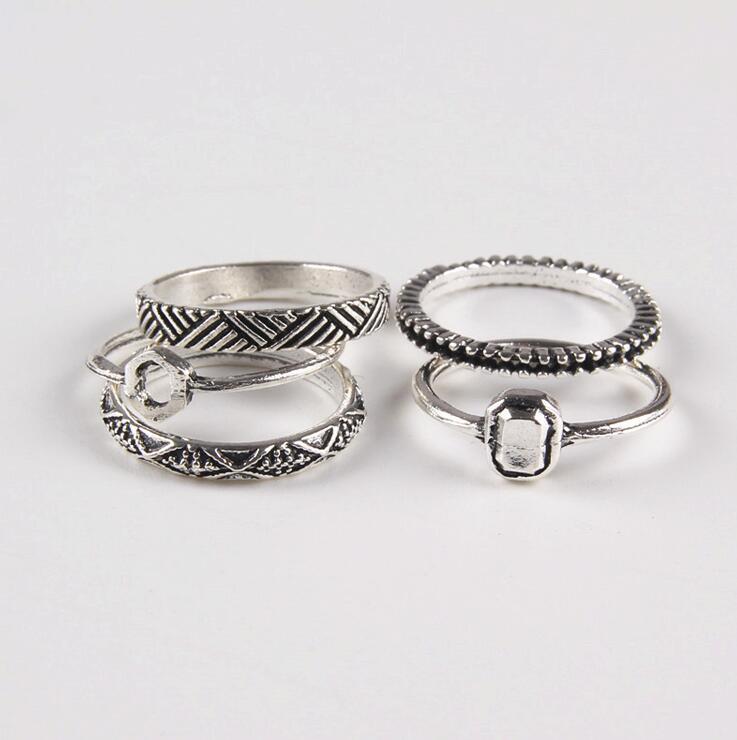 5 PCS 1 SET New Vintage Retro Boho Bohemia Ancient Silver Tibetan Carving Totems Rings Set Lucky Punk Women Jewelry XY-R82