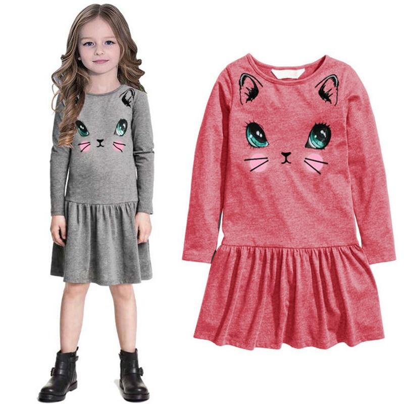 2017 long sleeve Cartoon print cotton Baby girl dress kids