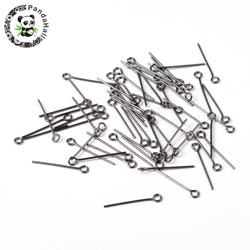 Black Plated Brass Eyepins Jewery Making Findings, 20x0.7mm, Hole: 2mm ...