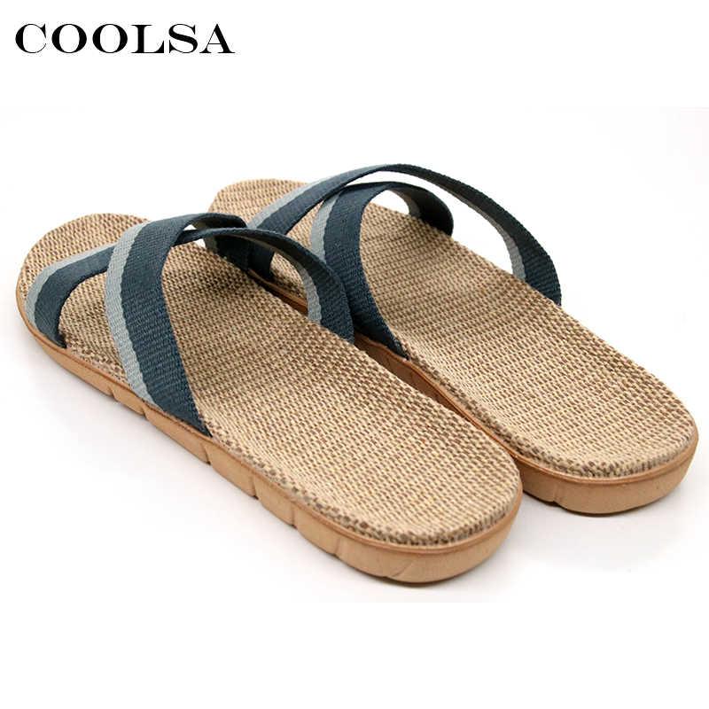ade905c6e79d ... Coolsa Summer Men Flax Flip Flop Canvas Linen Non-Slip Designer Flat  Slides Indoor Slippers