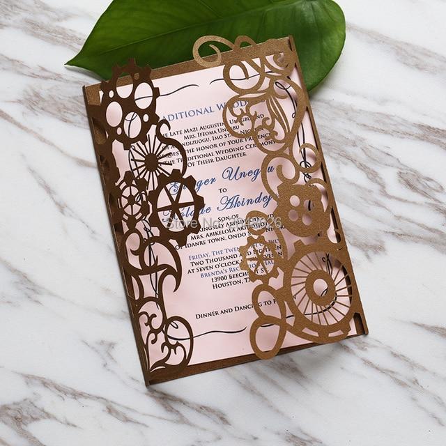 50pcs personalized laser cut steampunk elegant wedding invitation