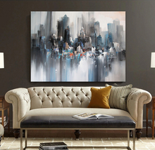 Modern landscape painting original canvas wall art painted gray city buildings abstract painting knife