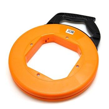 Cinta anaranjada de fibra de vidrio no conductora para pesca, extractor de conducto, conducto, Cable de tracción de rodillo, 30M x 4mm para Carretes de alambre de alta resistencia