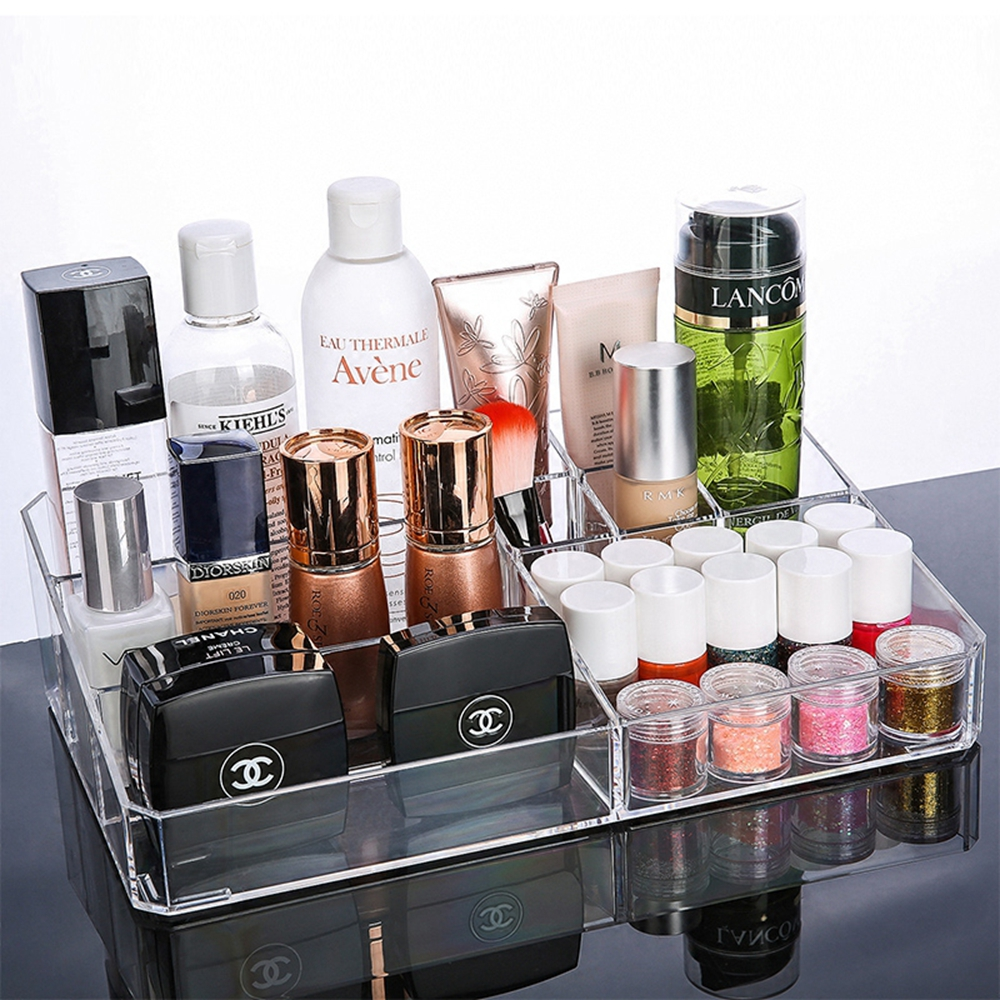 Transparent Acrylic Makeup Cosmetics Organizer Crystal Plastic Desktop Jewelry Storage Box for Bedroom Bathroom Girlfriend Gift