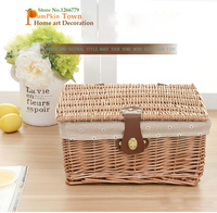 Hand woven wicker wicker rattan storage basket,storage box with lid buckle,desktop wicker storage basket,snack/toy/clothes