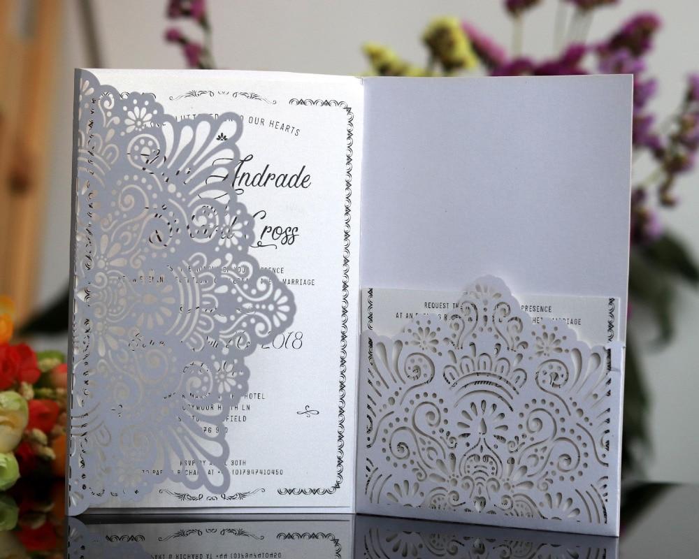 50pcs White Blue Horizontal Laser Cut Wedding Invitations Cards With