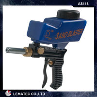 LEMATEC Gravity Feed Portable Pneumatic Abrasive Sand Blaster Gun With Spare Blaster Tip Hand Held Sandblasting
