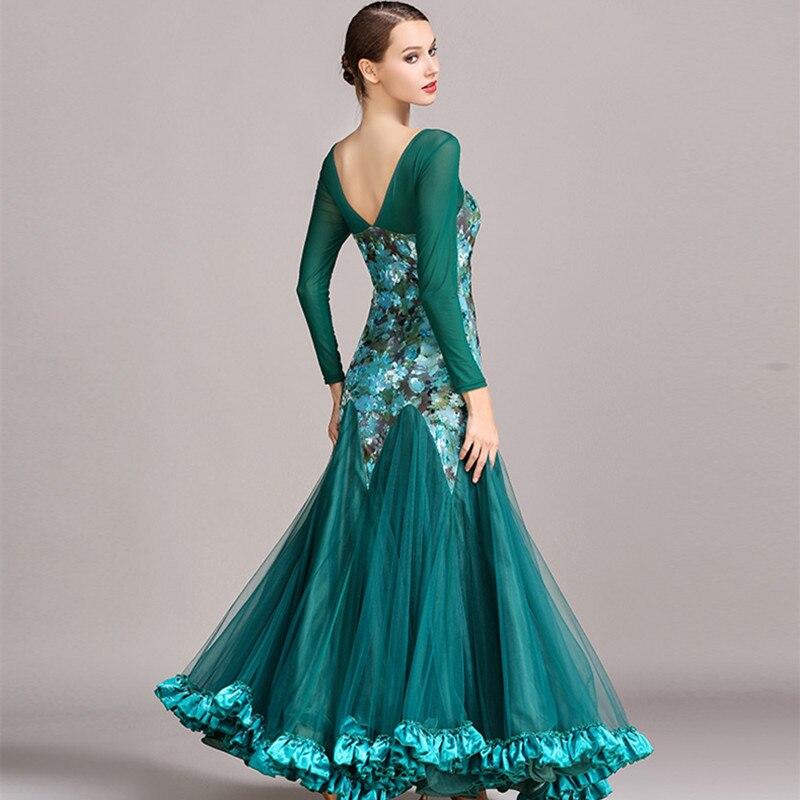 Picture of 4 Colors Green Standard Womens Dances Dresses For Ballroom Dancing Waltz Ballroom Standard Dress Ballroom Dress Waltz Flamenco