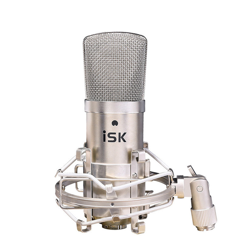 Hot Sale Original new ISK BM-800 professional recording microphone condenser mic for studio and broadcasting without carry case 3 5mm jack audio condenser microphone mic studio sound recording wired microfone with stand for radio braodcasting singing