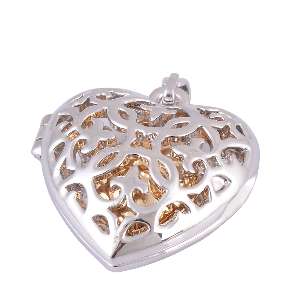 Hollow Heart Pendant Inside with Gold Heart Screw Urn Pendant Necklace Memorial Cremation Jewelry