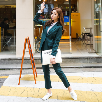 Womens business suit new style solid color high quality European fashion casual office lady jacket + pants