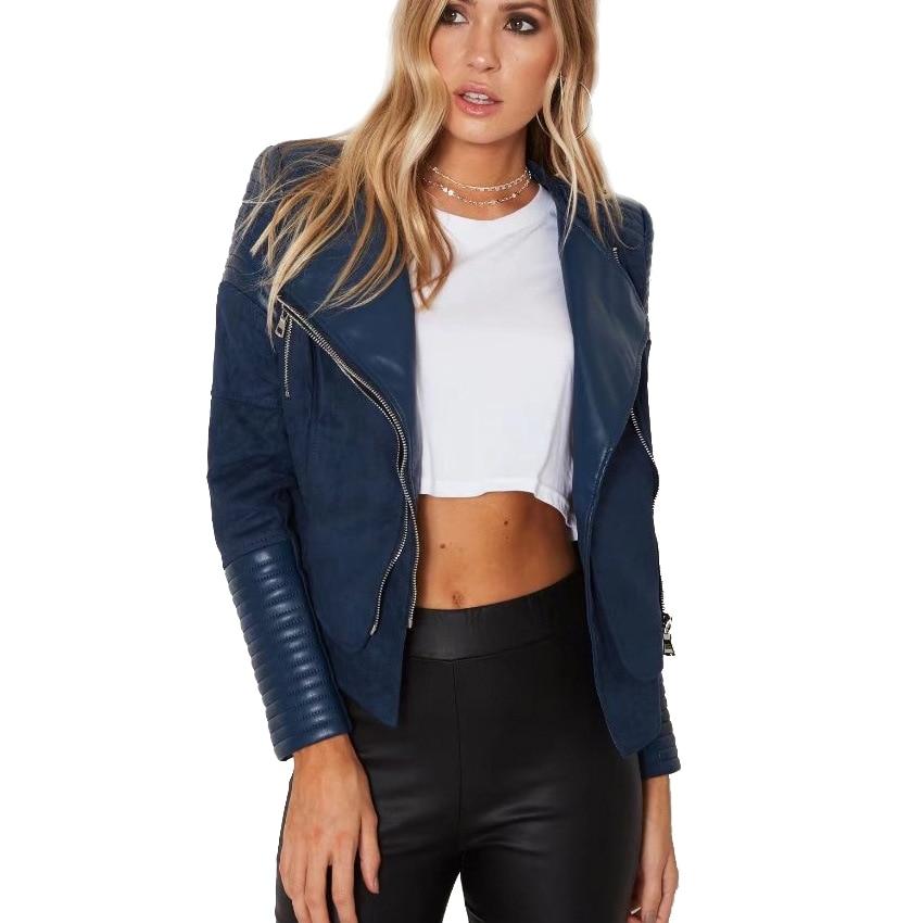 steelsir Short Female Spliced Faux Suede Leather Jacket Women Turn-down Collar Zipper Coats Ladies Fashion Moto Biker Outwears
