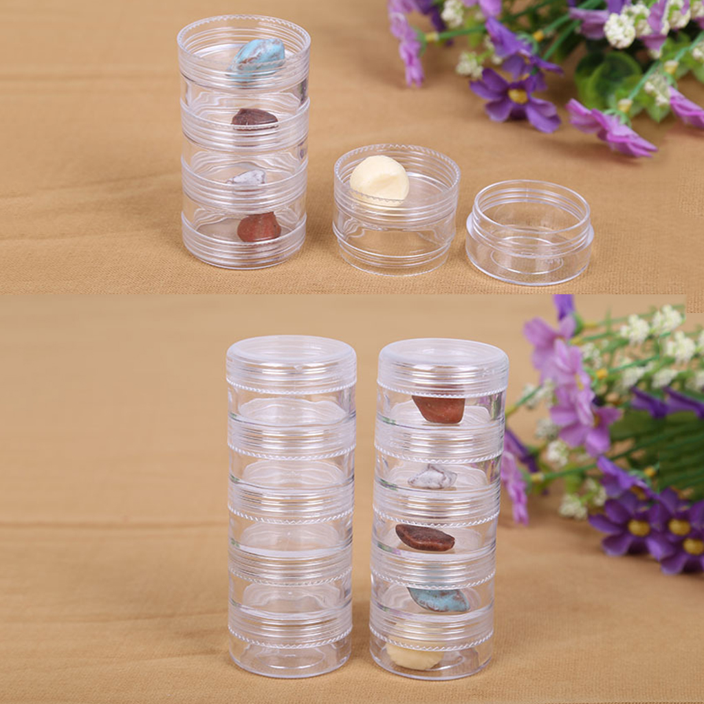 5 Piece Plastic Stackable Screw Top Jar Stacking Container With Clear Lids For Storage Balm Crafts Cream Glitter