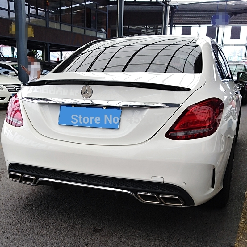 For <font><b>Mercedes</b></font> <font><b>Benz</b></font> W205 4-Door Sedan C180 C200 <font><b>C300</b></font> ABS Plastic Unpainted Primer Color Tail Wing Decoration <font><b>Rear</b></font> Trunk <font><b>Spoiler</b></font> image