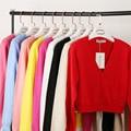 Free shipping 2017 Spring Ladies long-sleeved cardigan short coat wild mercerized cotton sweater