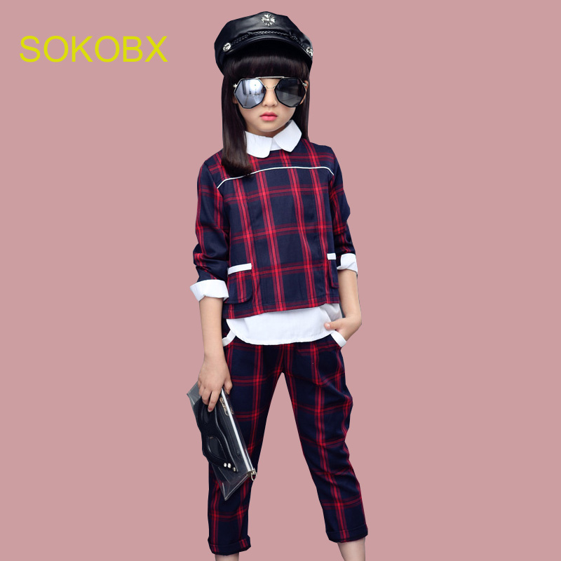 2017 Autumn Teenage Girls Sport Suit Plaid Suit Children Girls Clothing Sets School Kids Tracksuit For Girls Clothes 2pcs set girls winter clothes children clothing sets kids sport suit butterfly print cotton clothes girls clothing set kids tracksuit 3pc