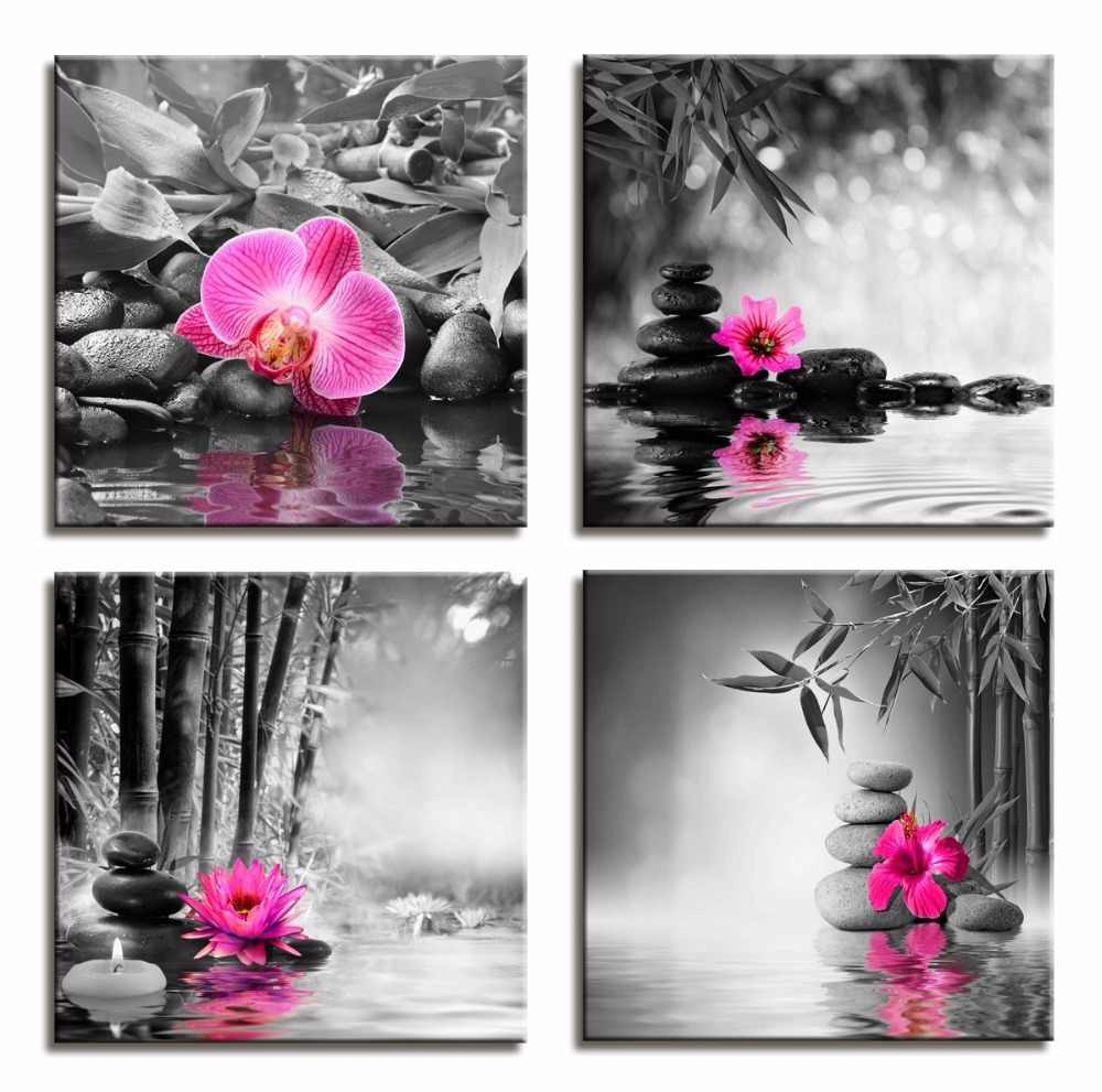 Black and White Canvas Painting Poster Butterfly Orchid Flower Zen Stones Wall Art Bamboo Print on Canvas Modern Art Wall Decor