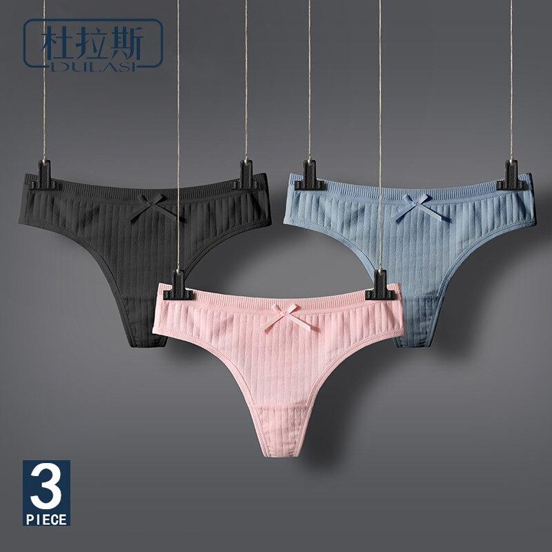 DULASI Sexy Lingerie Women's Cotton G-String Thong Panties String Underwear Women Briefs  Pants Intimate Ladies Low-Rise 3 pcs