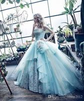 Mint Blue Ball Gown Quinceanera Dresses 2017 Gowns Princess Crystal Prom Dress 2017 Ball Gowns Formal