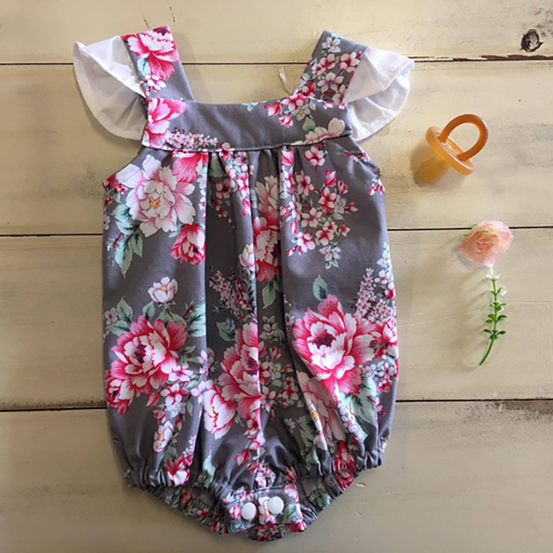 2018 Toddler Baby Girl Clothes Tiny Cottons Floral Print Jumpsuit Newborn Girl Bodysuit Lace Body Infantil Girl Baby Onesie