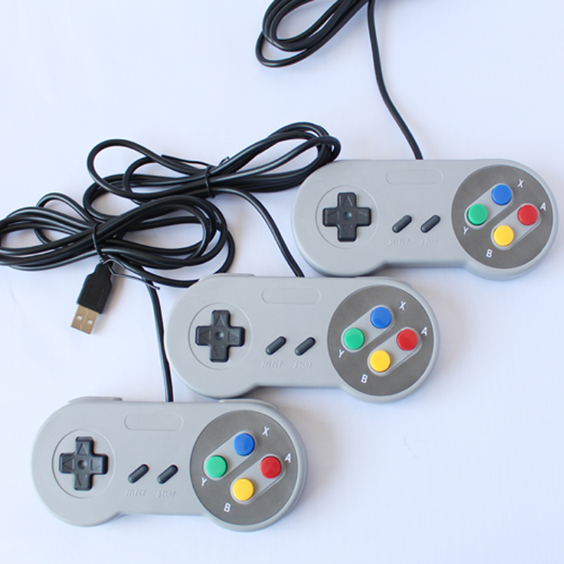 2017 Classic Retro USB Game Controller for Nitendo SNES support Windows PC/MAC/Android TV BOX In Grey &Purple image