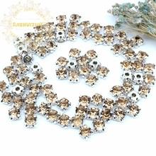 3mm 4mm 5mm 6mm 7mm 8mm Light coffee Diamond shape Glass Crystal rhinestones with silvery claw Diy wedding dress accessories