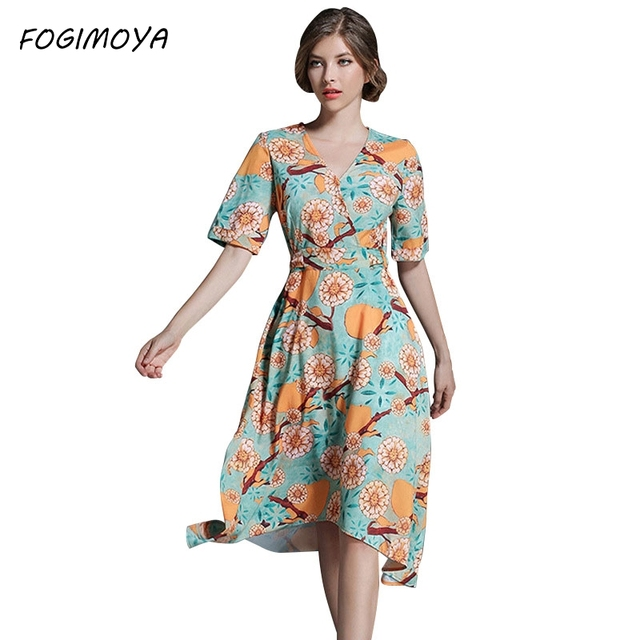 Fogimoya платье женские летние Мода 2017 печати асимметричный с v-образным вырезом платья женские короткий рукав Талия Марка принтом длинное платье