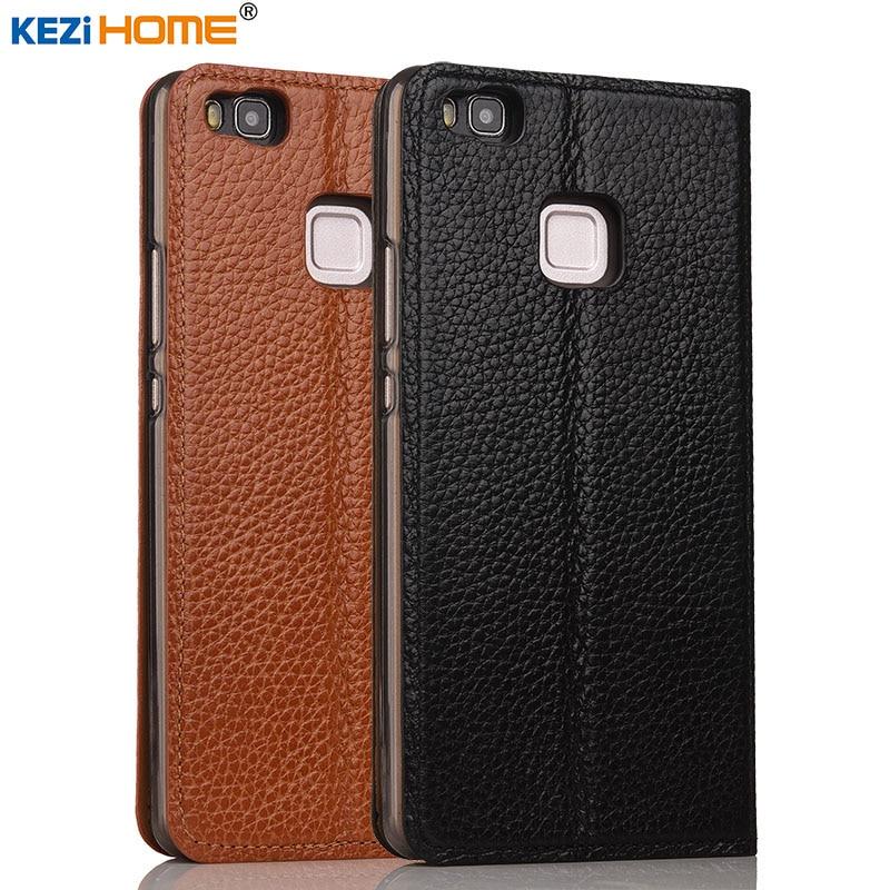 imágenes para Huawei P9 Lite caso KEZiHOME Litchi Soporte Del Tirón Del Cuero Genuino Cubierta de cuero de la capa Para Huawei P9 Lite 5.2 ''casos de Teléfono coque
