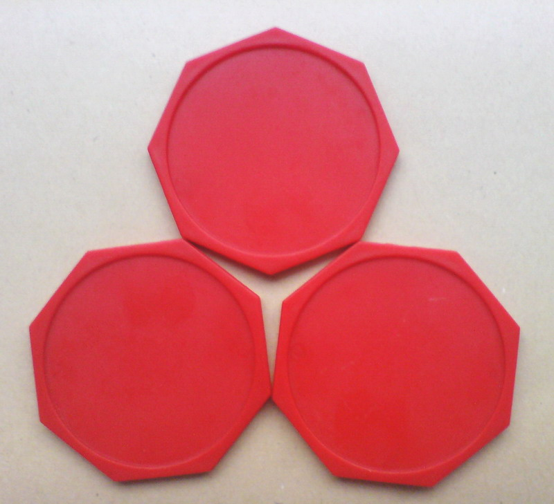 NEW 3pcs Red Hexagonal Air Hockey Table Pusher Puck 63mm 2-1/2