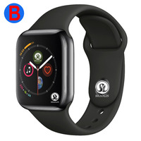 B Men Women Bluetooth Smart Watch Series 4 SmartWatch for Apple iOS iPhone Xiaomi Android Smart Phone (Red Button)