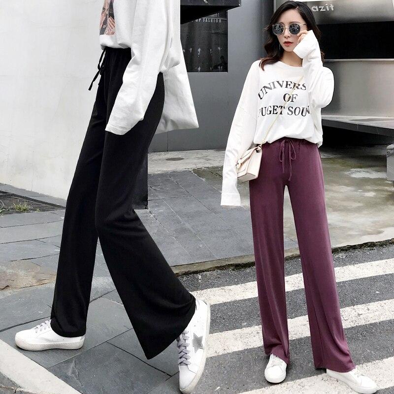 Fashon Loose Full Length Women Straight Pants Plus Size 2018 Autumn Winter New Hot Female Elastic Waist Pants Trousers Bottoms