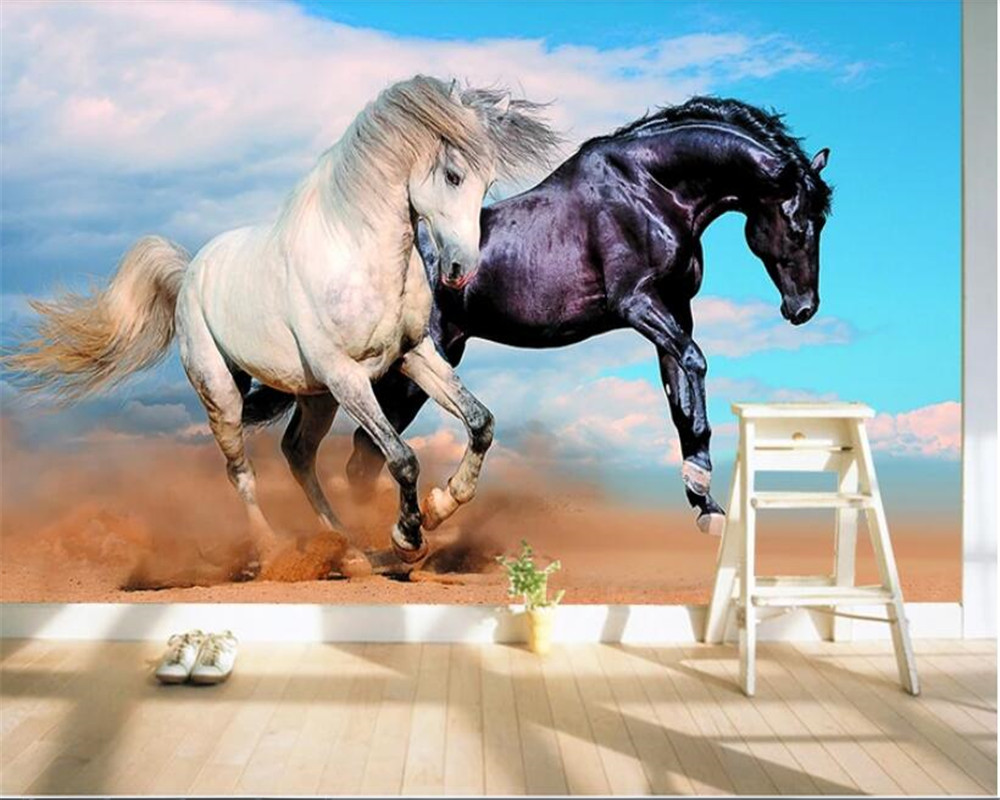 beibehang Wall wallpaper 3d Custom black and white horse photo wallpaper wild horse home decoration wallpaper for walls in rolls