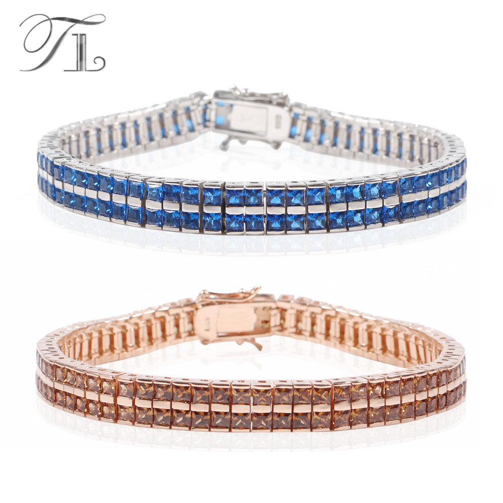TL 925-Sterling-Silver Bangle Bracelets Instagram Hot Sale Blue/Brown Cubic Zircon Crystal Bracelets Fashion Bracelets For Women bracelets
