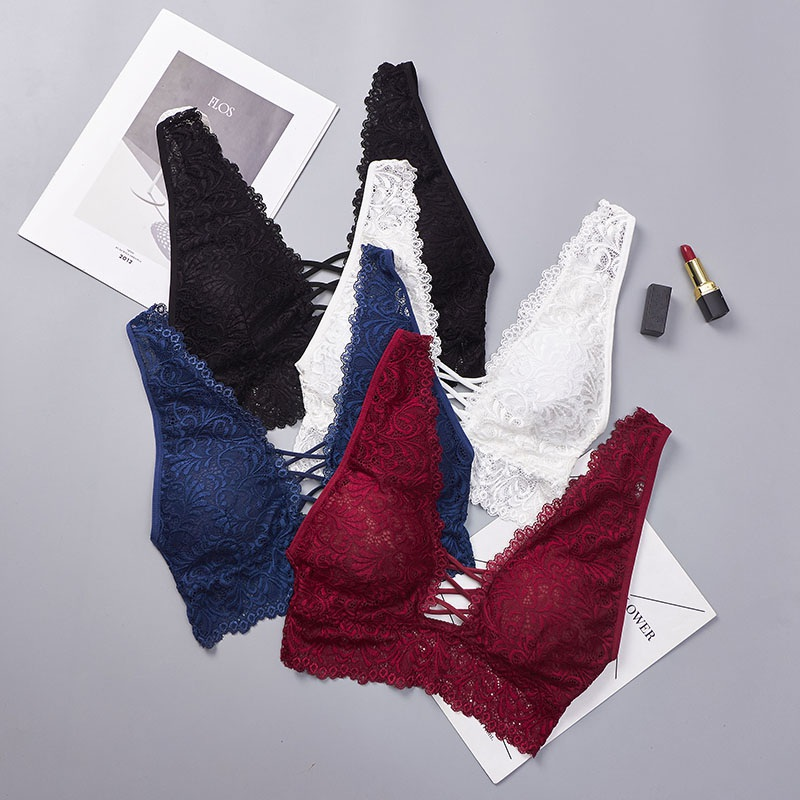 2019 Summer Sexy Women Seamless Padded   Tank     Tops   Deep V Sexy Lace Bralette Bustier Bra Lace Crop   Top   Bralette White Black Red